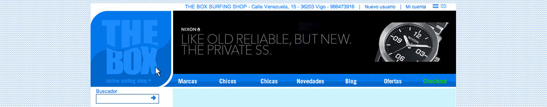 Efecto pulsado del logotipo, web TheBox Surfing Shop